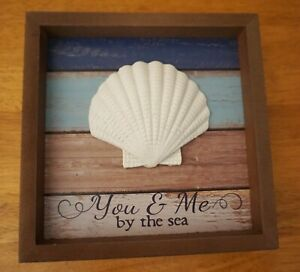 YOU & ME BY THE SEA Tabletop Sign Tropical Beach Tiki Bar Coastal Home Decor NEW