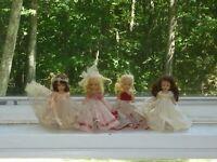 """Vtg 4 NANCY ANN Storybook 5 1/2"""" dolls Sleepy Eyes Molded Lashes Dressed (H0 01)"""