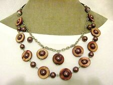 """24"""" Quality Brown Real Shell Bronze Glass Pearl Beaded Necklace Fair Trade Beach"""