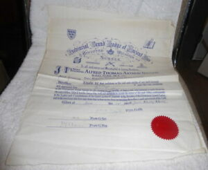Vintage Masonic certificate, Craft, Prov Grand Lodge of Sussex dated 1957