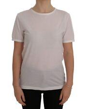 NUEVO DOLCE & GABBANA Blusa Camiseta Algodón Blanco Cuello Redondo IT36/ US2/ XS