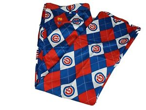 """New Mens Chicago Cubs Loudmouth Golf Pants Size 42"""" x 30"""" Argyle Flat Front MLB"""