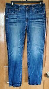 Woman's AMERICAN EAGLE Slouchy Straight Leg Jeans Sz 6 Reg Stretch