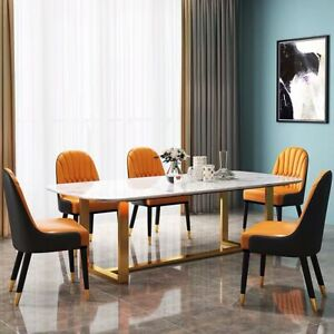 DINING TABLE MARBLE TOP WHITE BLACK STAINLESS STEEL LEGS GOLD SILVER BRAND NEW