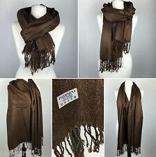 Chal de pashmina Bufanda | Marrón grandes 100% lana abrigo llano con borlas | Día Siguiente