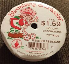 """Vintage Strawberry Shortcake 10 foot Roll of 7/8"""" Wide Red Christmas Ribbon"""