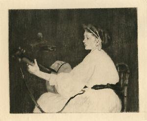 """Eduoard Manet """"la femme a la guitare"""" etching"""