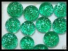 Lot of 6 XS TWINKLE EMERALD Fused Glass DICHROIC Cabochons NO HOLE Beads Flat Bk