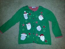 Ugly Christmas Sweater Green Red Floating Santa Heads Tiara International X-MAS