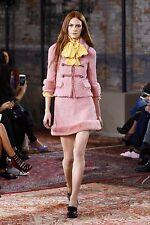 Gucci Runway Resort 2016 NWOT Pink Tweed Jacket Tiger Buttons Stunning Elegant
