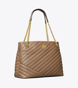 ON HAND Authentic TORY BURCH KIRA CHEVRON TOTE BAG CLASSIC TAUPE