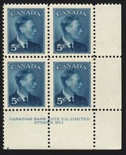 KING GEORGE VI = HISTORY= Canada 1950 # 293 MNH LR Block of 4 Plate #1
