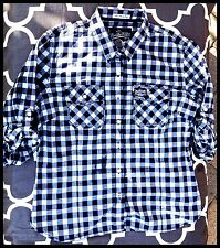 SuperDry Women's Long Sleeve Blue & White Gingham Check Skinny Crop Shirt Size M