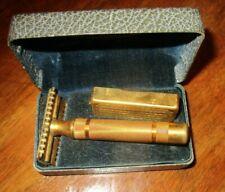 "Vtg ""THE NEW"" Gillette Safety Razor~Original Gold Tone Case~w/ Blades Holder"