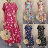 UK Women Summer Floral Print Short Sleeve Long Dress Casual Loose Kaftan Dresses