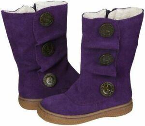 Livie & Luca Girls Grape Marchita Suede Leather Boots Shoes - Size 4 EUC