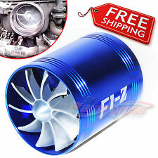 AIR INTAKE DUAL FAN BLUE Turbo Supercharger Turbonator Gas Fuel Saver fits FORD