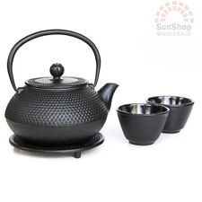 AVANTI Hobnail Cast Iron Tea Pot Set 800ml Black BONUS TRIVET & STRAINER!