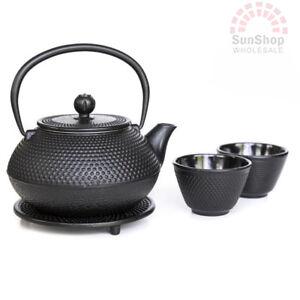 AVANTI Hobnail Cast Iron Tea Pot Set 800ml Black BONUS TRIVET & STRAINER!