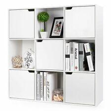 9 Fächer Bücherregal Weiß Standregal Büroregal Raumteiler Bücherschrank mit Tür