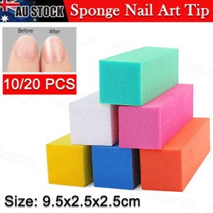 10/20 Pcs Nail Sanding Block Buffer Acrylic Files Art Sand Surface Sponge Random