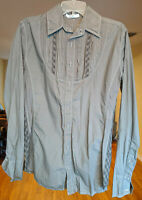 3J Workshop Johnny Was Embroidered Button Down Shirt Gray Blouse Lexington NWT M