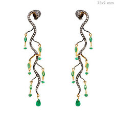 14 K Gold Diamond Chandelier Earrings Emerald Pave Jewelry .925 Sterling Silver