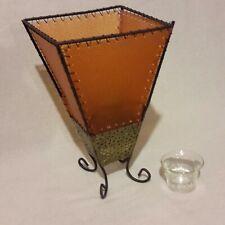 Upsidedown Pyramid Tea Light/ Votive Candle Holder w/ Glass Votive Cup