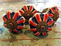 Set of 4 Union Jack Vintage Style Ceramic Cupboard Door Knobs in Antique Brass