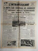 N232 La Une Du Journal l'intransigeant 4 octobre 1935 guerre Italo-éthiopienne
