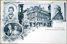 1900 Leipzig Postcard: Zur Erinnerung Goethes Aufenthalt-Goethe/Oeser/Schonkopf