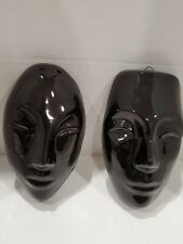 Male and Female Black Ceramic Wall Hanging Masks