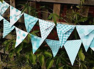Handmade bunting - Riley Blake Aqua fabric - photography, wedding, baby, nursery