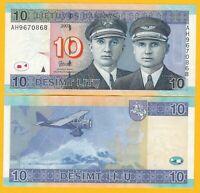 Lithuania 10 Litu p-68 2007 UNC Banknote