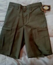 New w/ tag NWT Mens Dickies Work Shorts Dark Green Olive Zip Cargo Pocket Sz 28