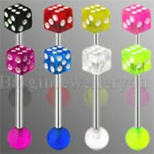 with Clear & White Dice & Ball 1 x 14g-16mm Surgical Steel Tongue Barbell