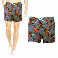 Brave Soul Mens Ford Striped Floral Swimming Trunks Mesh Lined Beach Swim Shorts
