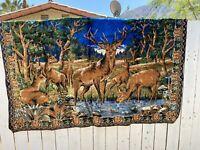vintage 72x48 velvet wall hanging cabin rustic deer Stag Retro Fun