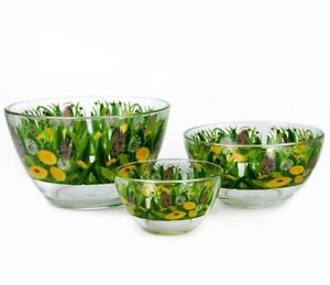 Set of 3 SALAD BOWLS. Glass Bowls with Print. Made in Gus Khrystalny Russia