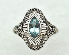Anillo Topacio Azul Semilla Perlas Art Deco gr 54 plata plata de ley 925