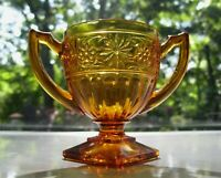 Indiana Glass Amber Daisy #620 Sandwich Footed Open Sugar Bowl