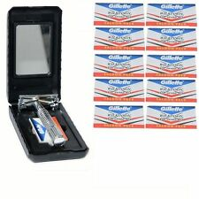 Safety Razor & 10 Wilkinson Sword Double Edge Shaving Blades Mens Gift