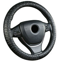 Universal Cowhide Leather Auto Car SUV Steering Wheel Cover Black Non-slip 38cm
