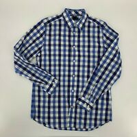 The Gap Mens Dress Shirt Size 16-16.5 L Blue Gingham Non Iron Slim Fit A5