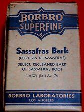 VINTAGE~ BORBRO LABORATORIES ( LOS ANGELES )  BOX / CONTENTS ~ SASSAFRAS BARK ~