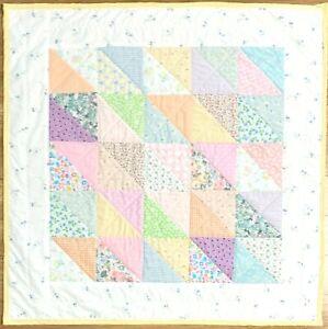 "Handmade Baby Girl's Quilt X-Large 41"" x 41"" Pastel Patchwork Crib Nursery New"