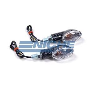 """2.5"""" Mini Cateye Turn Signals Lights 12 Volt Faux Carbon Fiber Clear"""