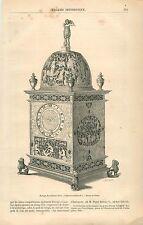 Horloge du Seizième Siècle Collection Soltykoff GRAVURE ANTIQUE OLD PRINT 1861