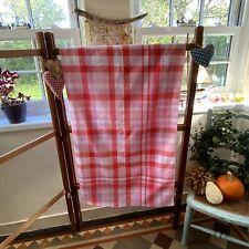 Vintage Retro Red White Pink Seersucker Tablecloth Kitchen Dining 122x118cm