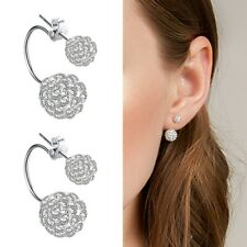 925 Sterling Silver Shamballa White Crystal Glitter Balls Drop Jacket Earrings